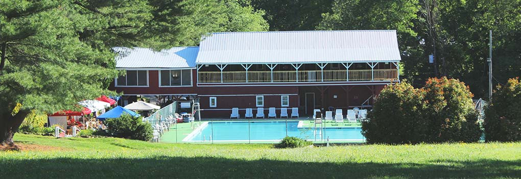 The pool and some camp buildings
