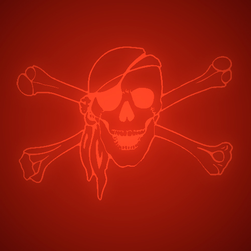 No-presenter image- skull and crossbones on red background.